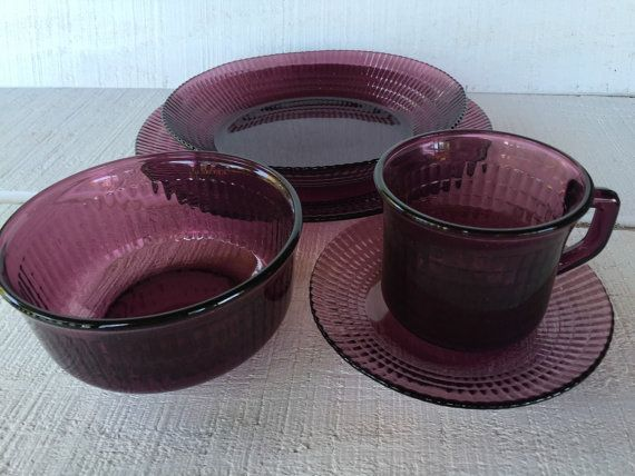 Vintage purple glass dinnerware amethyst by 1350Northvintage & Vintage purple glass dinnerware amethyst dinner plate soup bowl ...