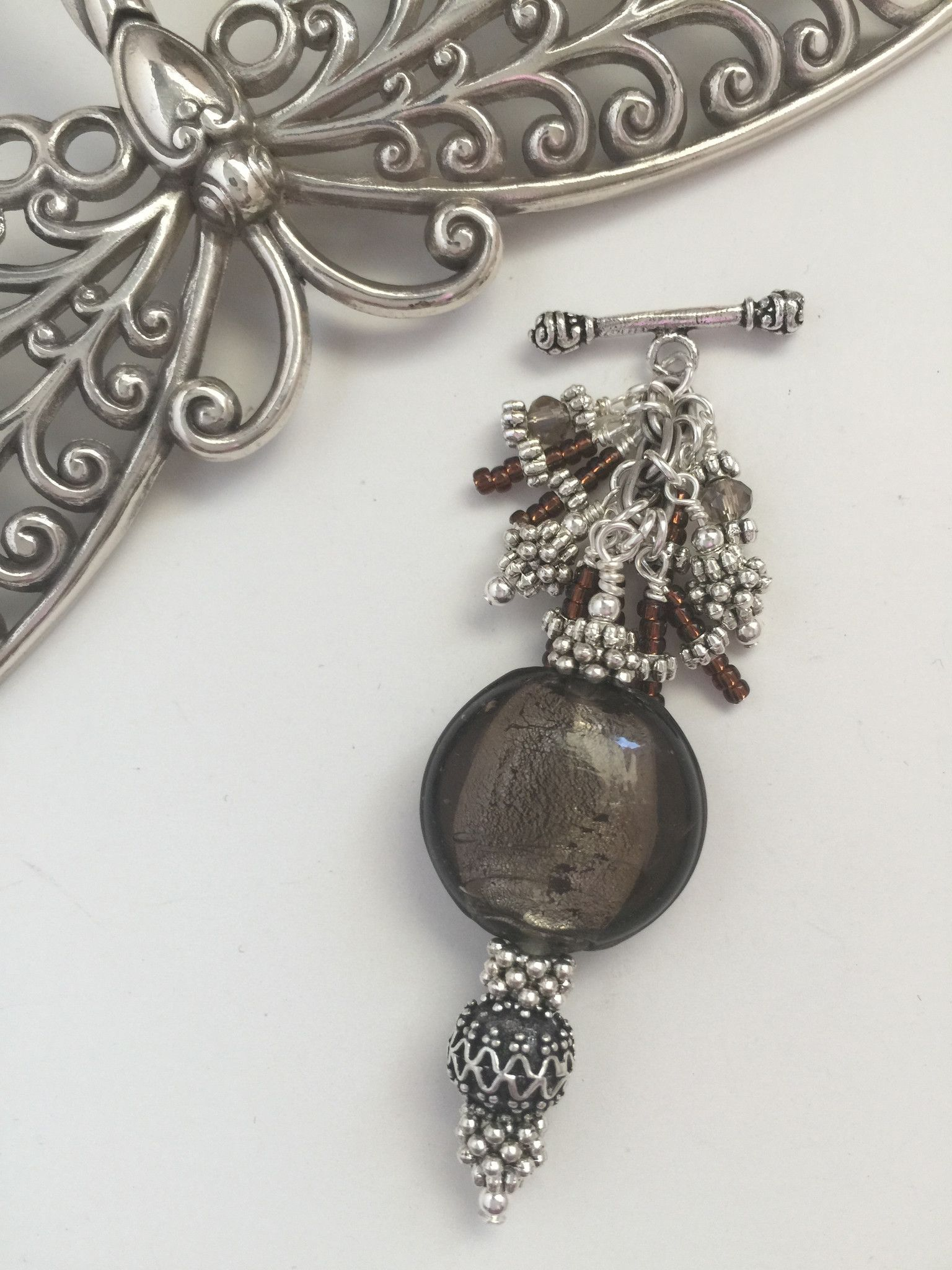Brown Beaded Pendant Necklace #122