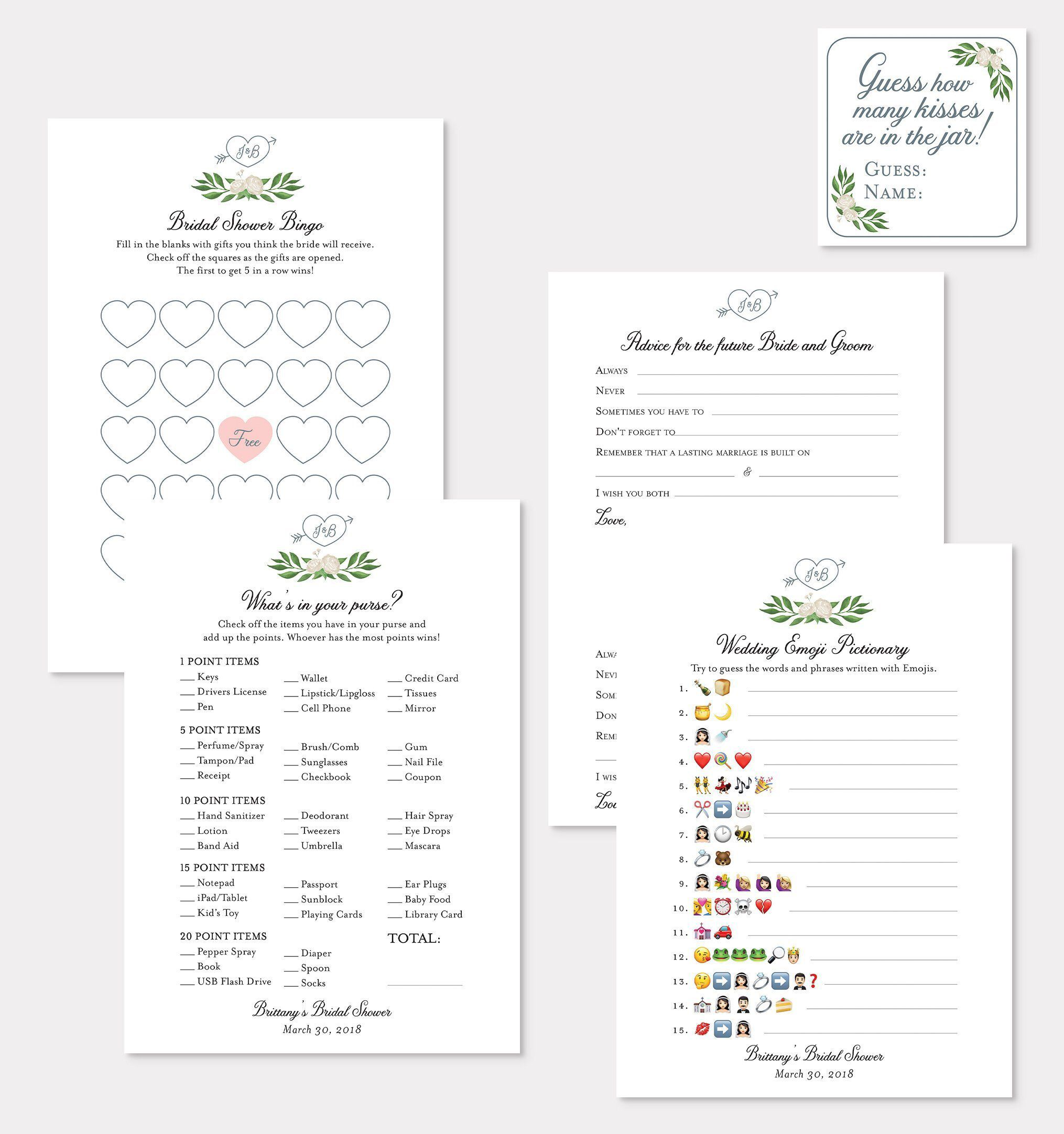 Diy Printable Personalized Bridal Shower Games By