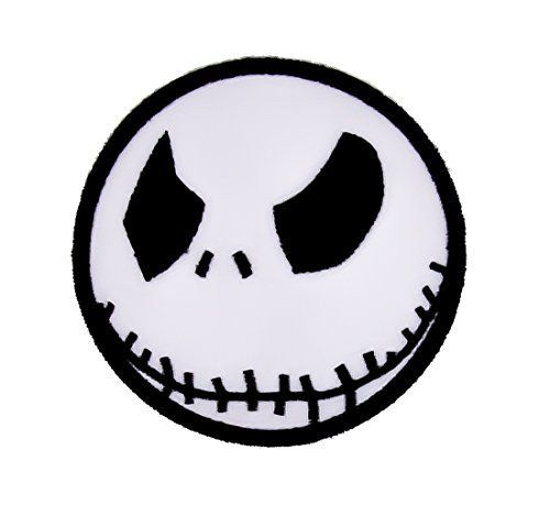 "Iron On Jack Skellington Patch. Just iron on any fabric you like! Turn your ordinary clothes or bags into something that stands out! Measurements: 3"" x 3"" inches wide; 1.5"" inch radius"