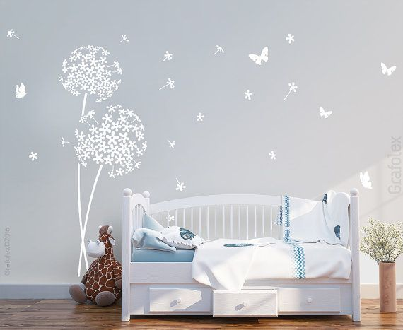 wall stickers nursery flower and butterflies wall stickers wall stickers nursery flower. Black Bedroom Furniture Sets. Home Design Ideas