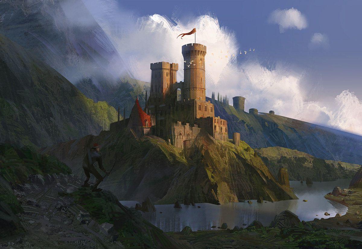 Castle on a River, Lee b on ArtStation at https://www.artstation.com/artwork/castle-on-a-river