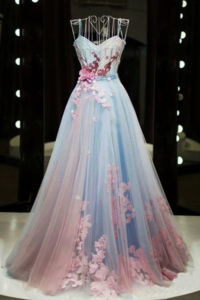 Unique pink and blue tulle long strapless senior prom dress, evening dress #eveningdresses