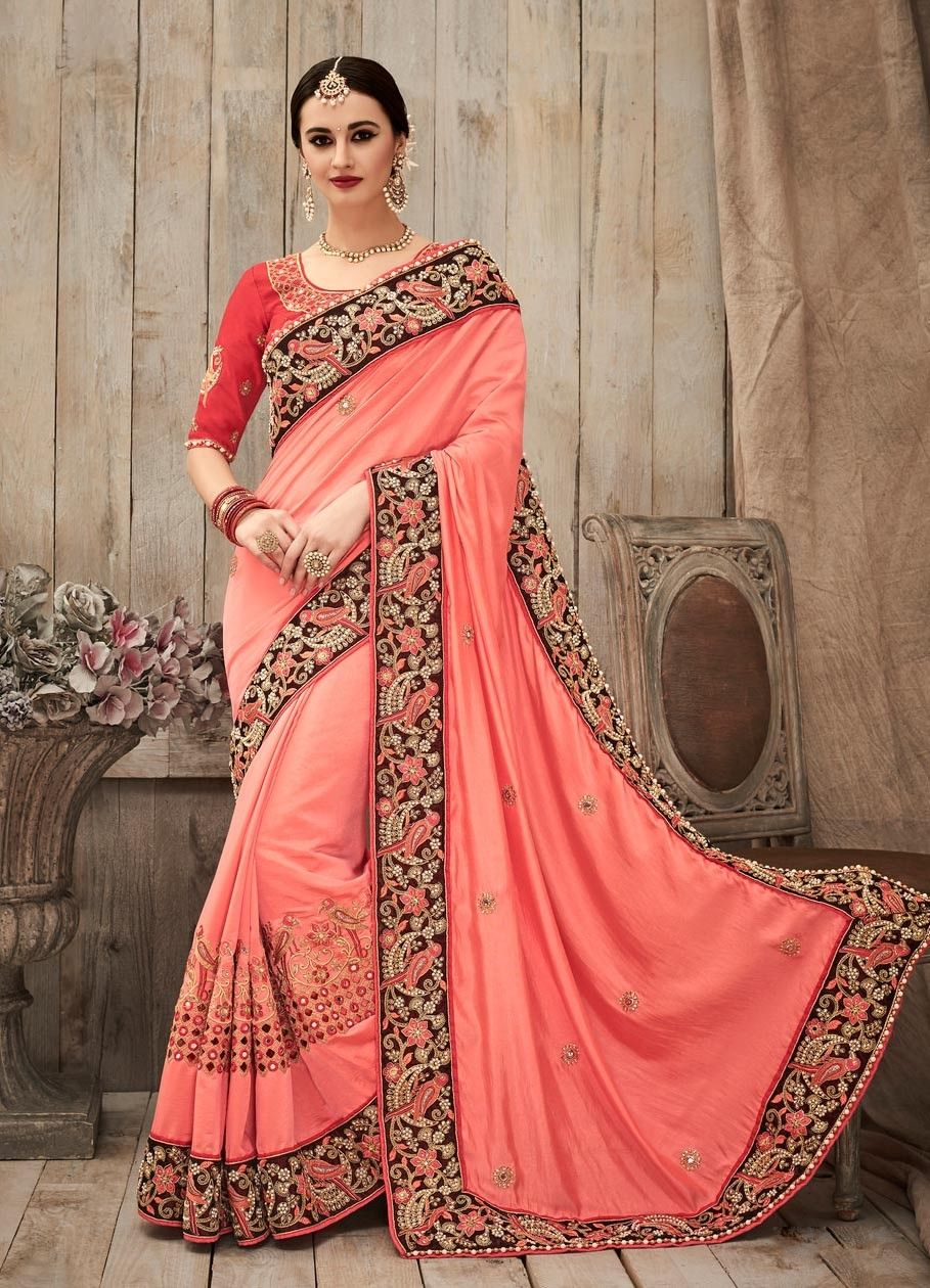 pink traditional art silk indian wedding sadi with mirror