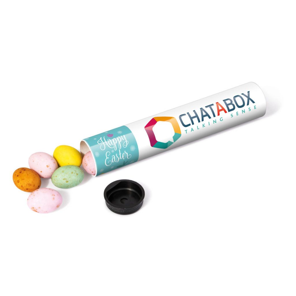 Promotional sweet tubes with speckled chocolate eggs branded with promotional sweet tubes with speckled chocolate eggs branded with your logo on the front negle Images