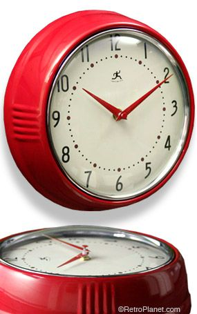 red retro kitchen clock electric small bright retro clock needs to be silent so will have go with vintageinspired