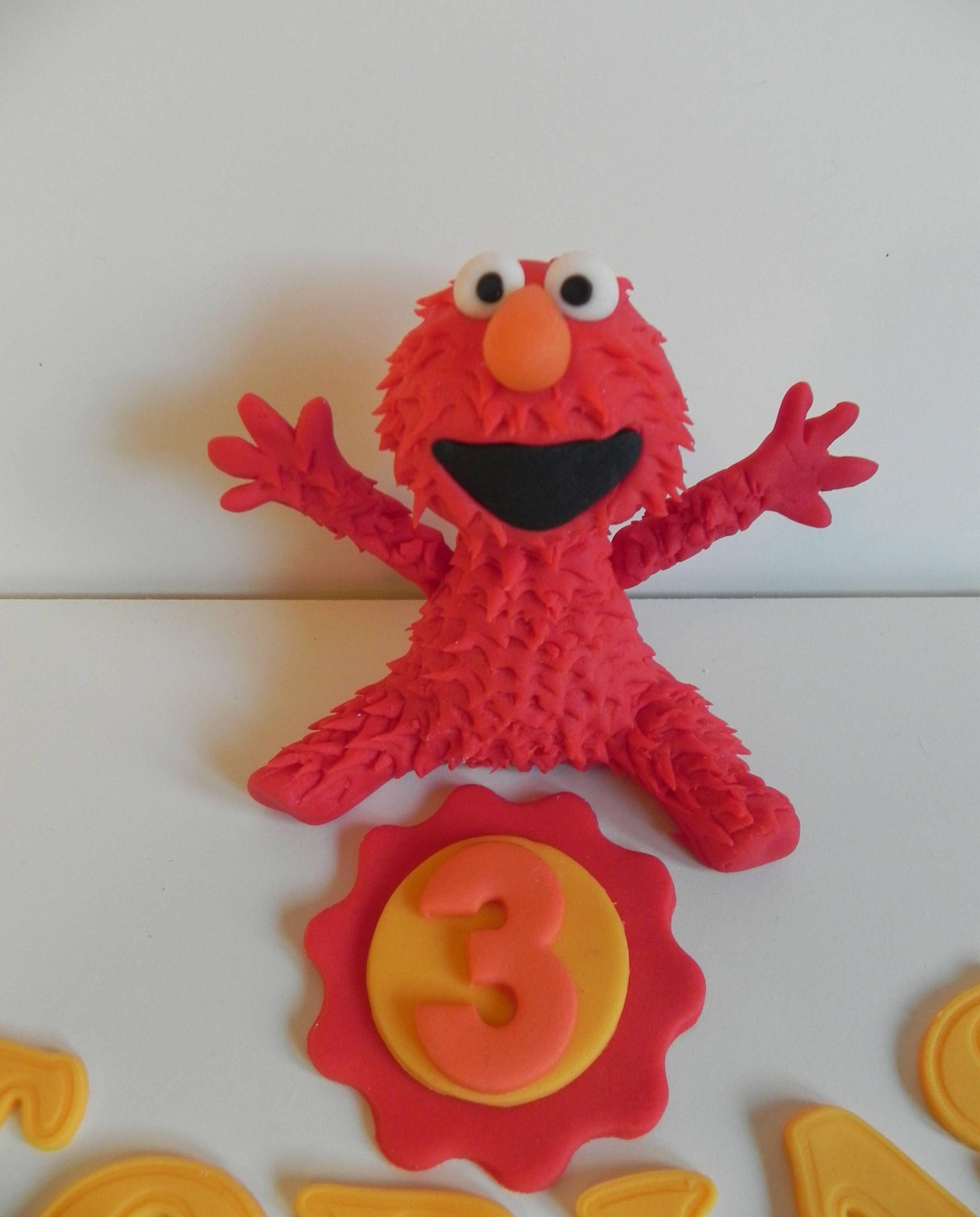 Elmo edible fondant cake topper birthday cake fondant figures