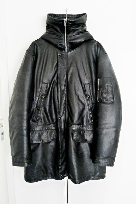 a113133a03e5 helmut lang down filled leather N-3B snorkel parka