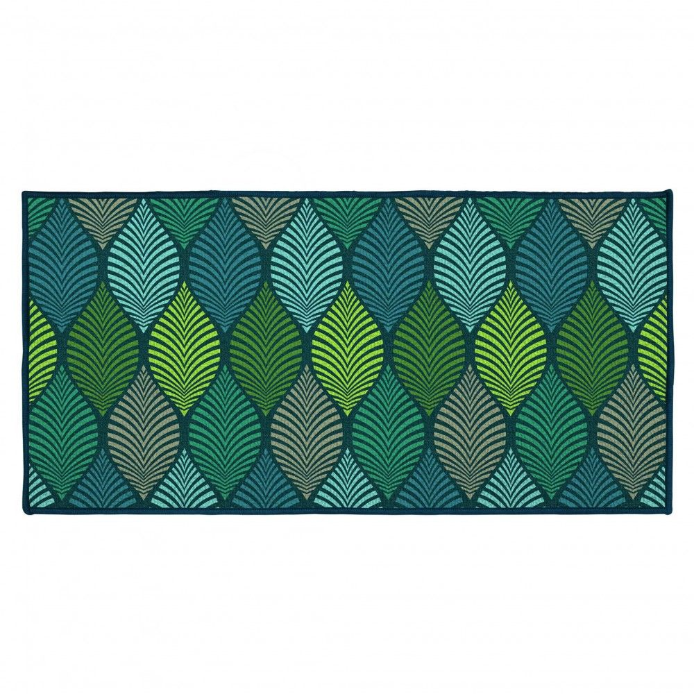 Tapis Rectangulaire Winter Green Motif Feuillage Vert Bleu