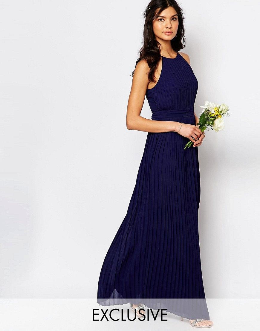 Tfnc wedding high neck pleated maxi dress bridesmaid for Navy blue maxi dress for wedding