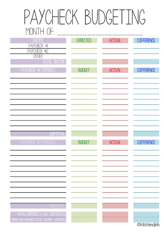 paycheck budgeting printable planner organization deco ideas