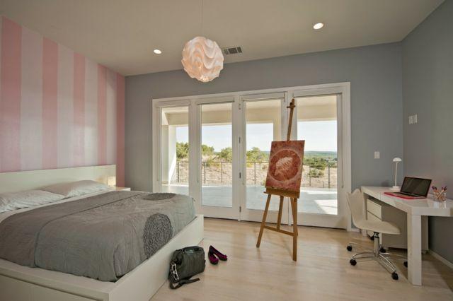 Wandfarbe Grau kombinieren rosa weiße Streifen hell Laminatboden - wandfarbe grau
