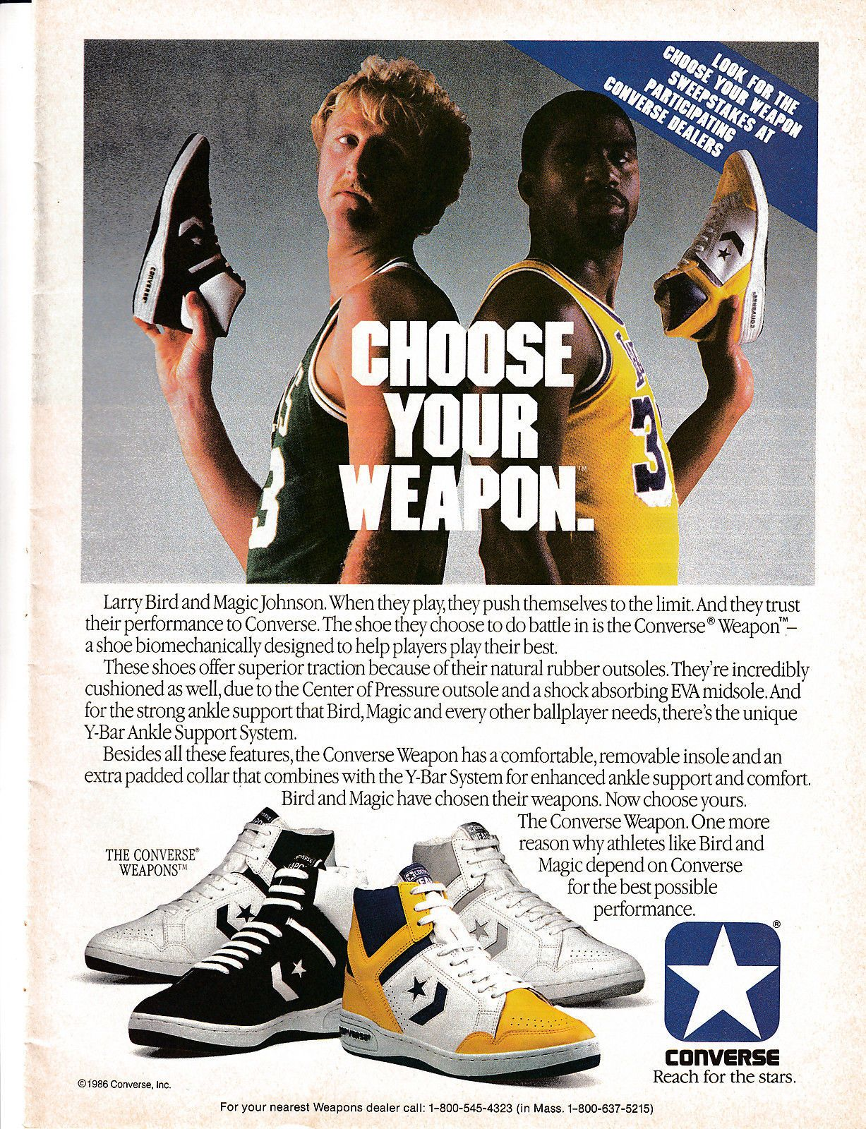 64bdae2f4fa Details about 1987 Converse Weapon Shoes Vintage Magazine Ad Larry ...