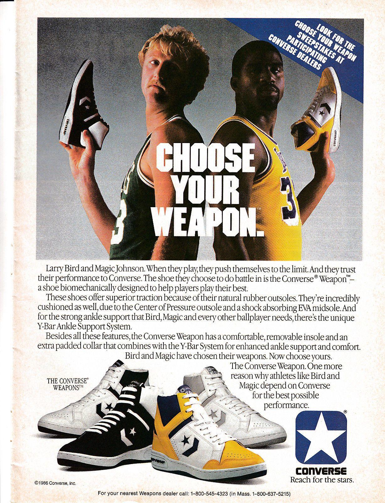 8c37cffe787f0d 1986 Converse Weapon Larry Bird Magic Johnson -Original Magazine Ad ...