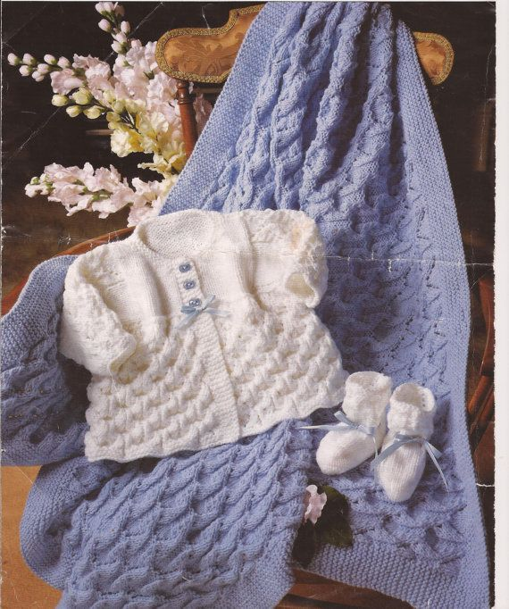 104b2f4e3 Baby Knitted Shawl  Blanket Matinee Coat and Bootees Knitting ...