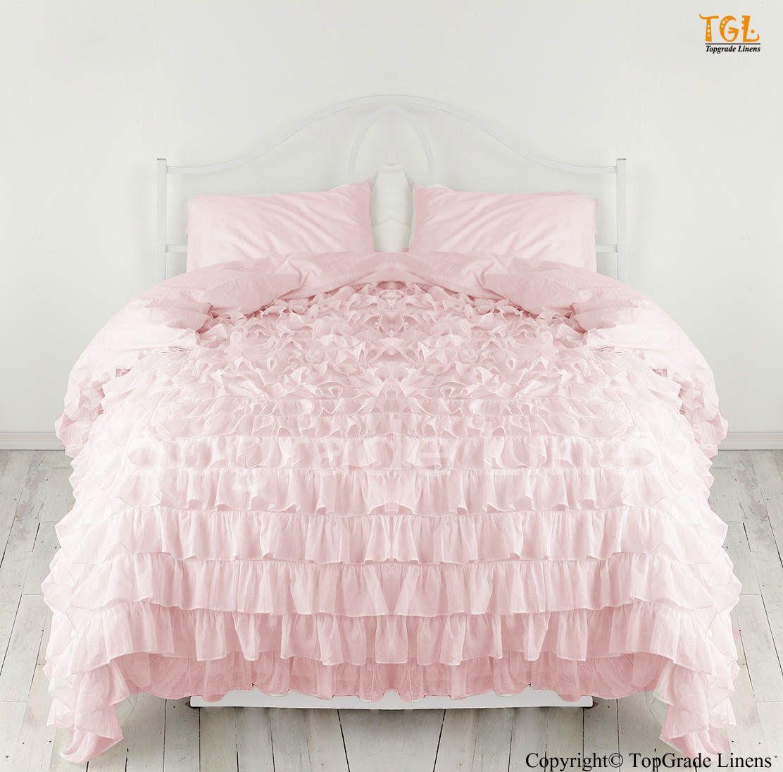 Pink Ruffle Bedspread Waterfall Ruffle Duvet Cover Egyptian