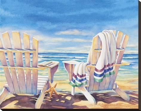 Seaside I Stretched Canvas Print By Kathleen Denis Painting