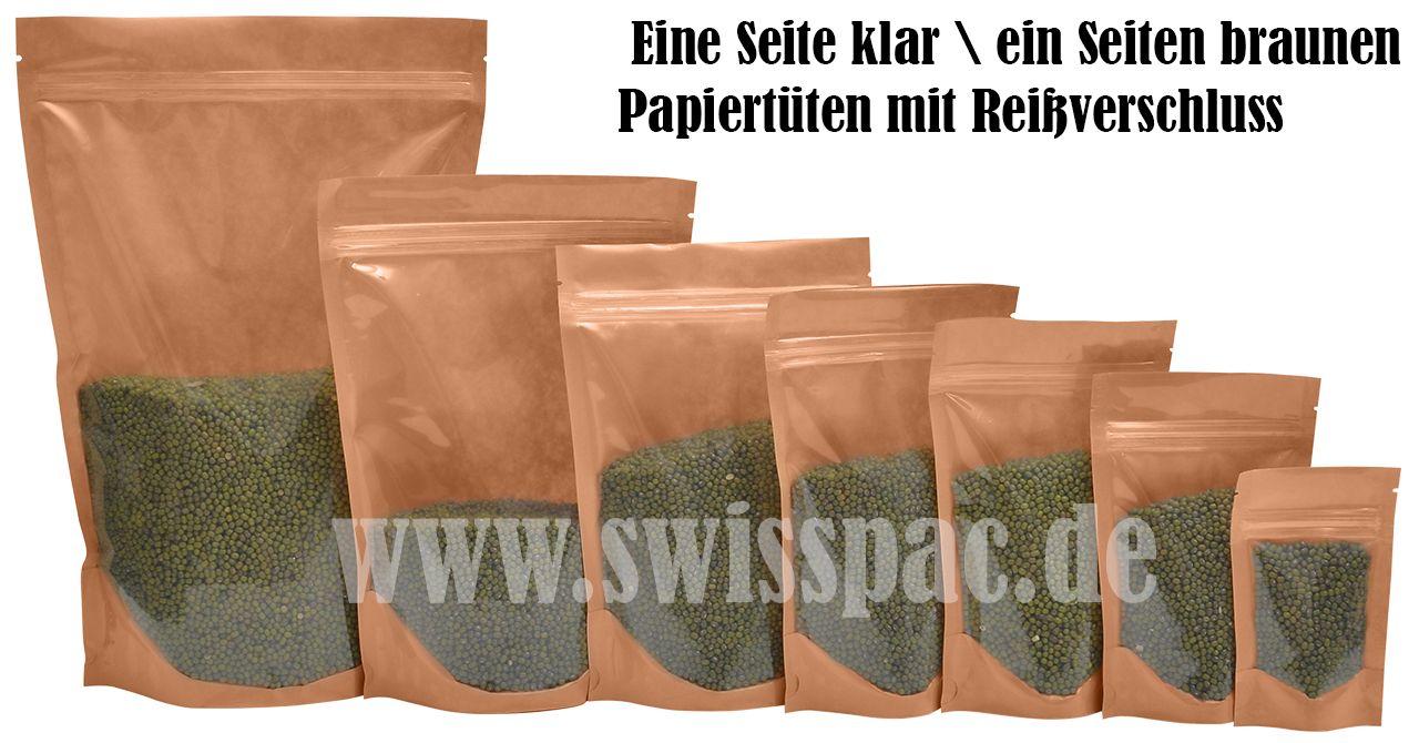#Germany #Standbodenbeutel - Kraft braunen Papiertüten mit Reißverschluss und ovales Fenster. www.swisspac.de/standbodenbeutel/