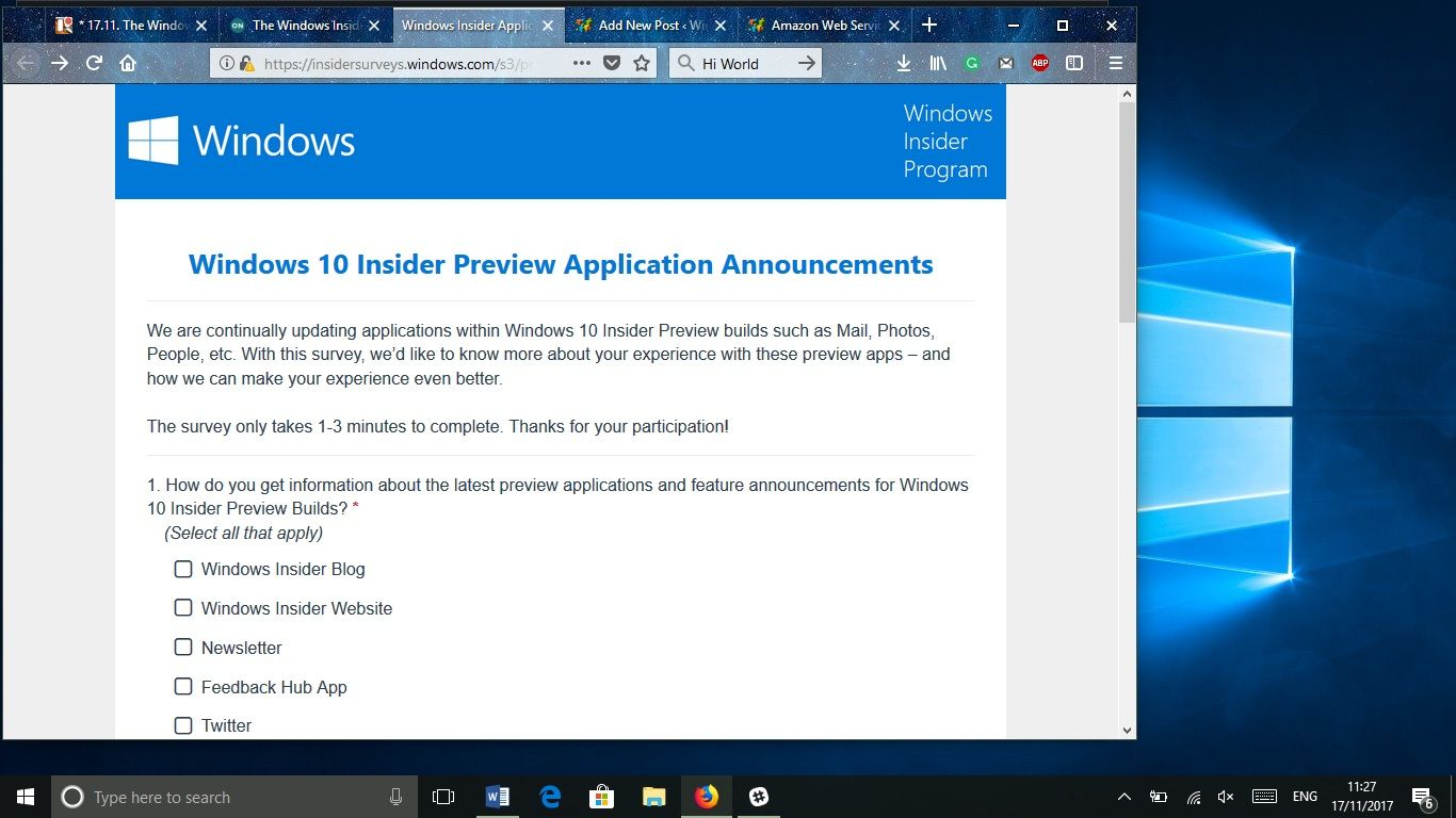Microsoft Windows Insider Program Survey Wants Feedback On Build