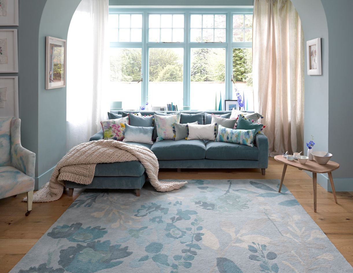 Bluebellgray Rug Braybrooke Teal. Hand tufted luxury quality wool rugs with signature oversized blooms and foliage in a tonal teal palette on a soft duck egg blue ground.