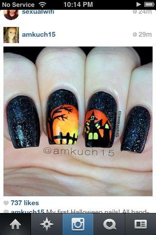 Spooky Haunted House Nails Halloween Nail Designs Nail Art Holiday Nails