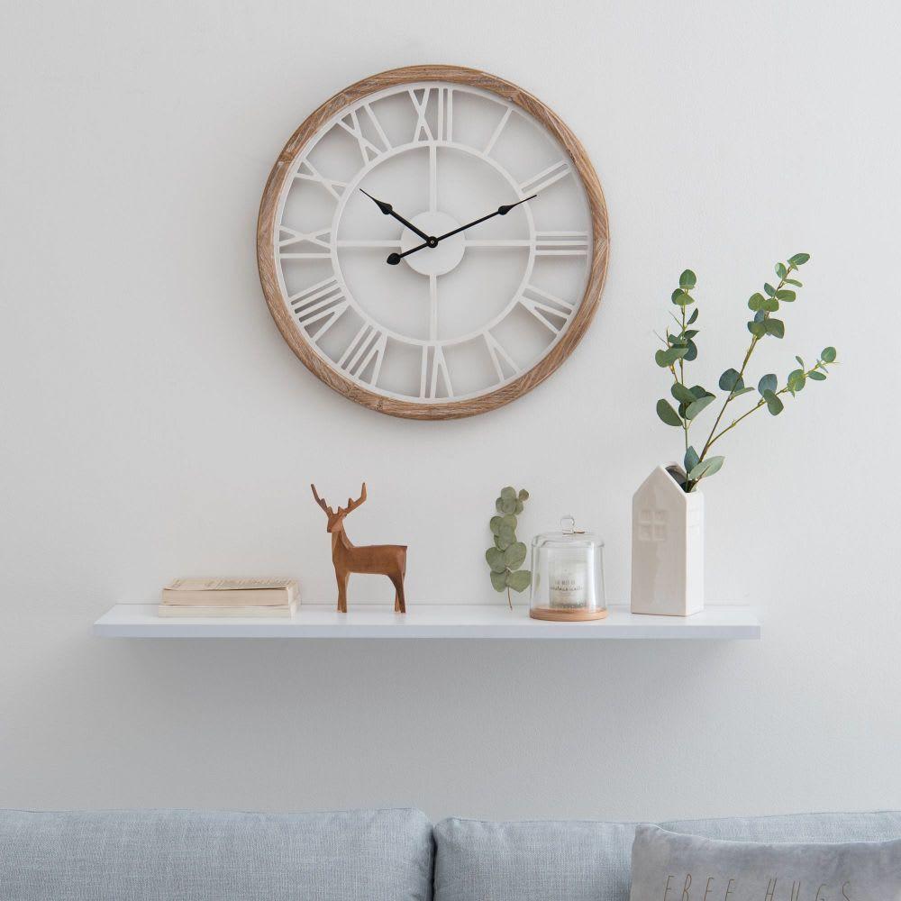Reloj De Metal Blanco Montroy Relojes Blancos Muebles De Comedor Objetos De Decoracion