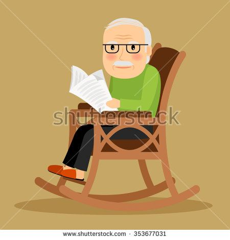 Old Man Sitting In Rocking Chair And Reading Newspaper Vector Illustration Man Sitting Chair Drawing Rocking Chair