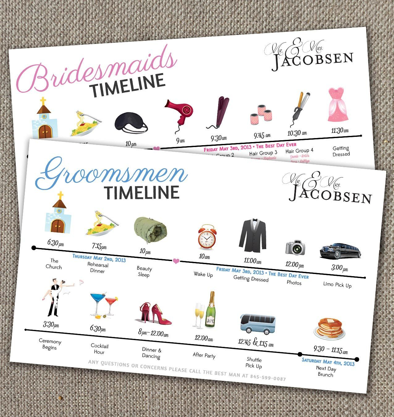 Bridesmaids & Groomsmen Big Day Time Line By