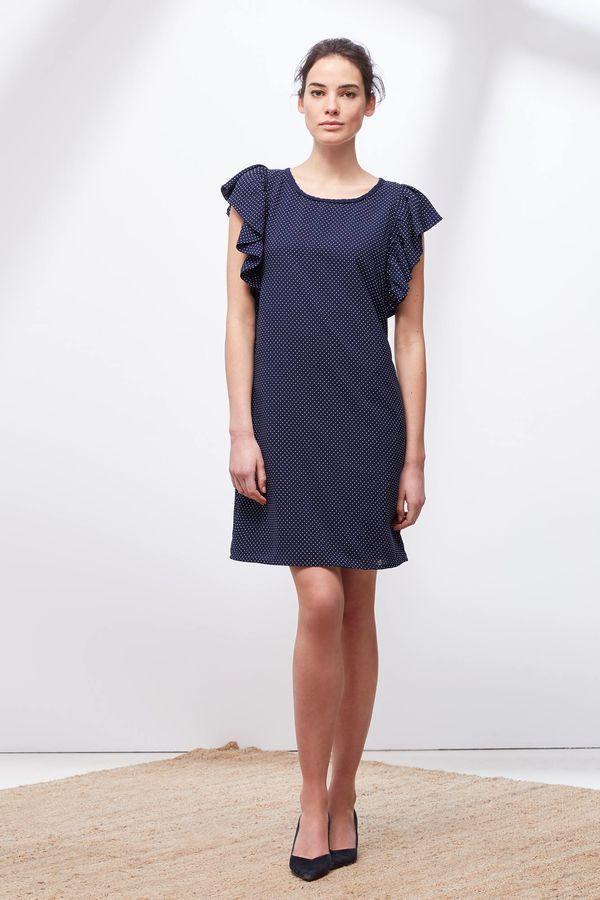 Cortefiel Vestido volante Azul
