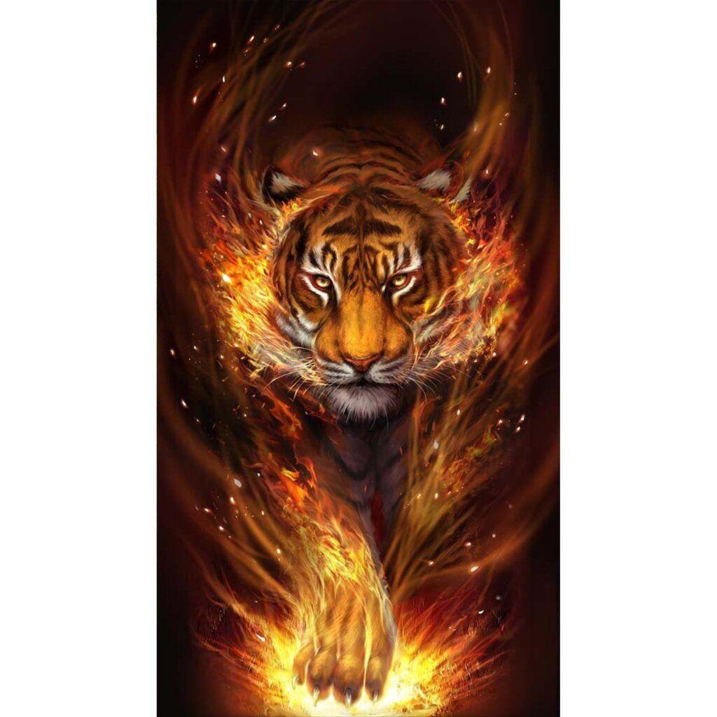 Fire Tiger - Full Round/Square Diamond Painting(80*45cm)
