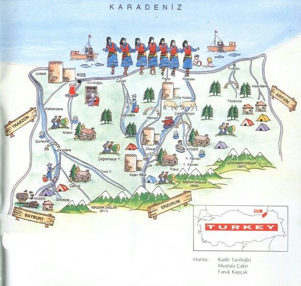Rize Touristic Map Eastern Blacksea Region of Turkey stliche