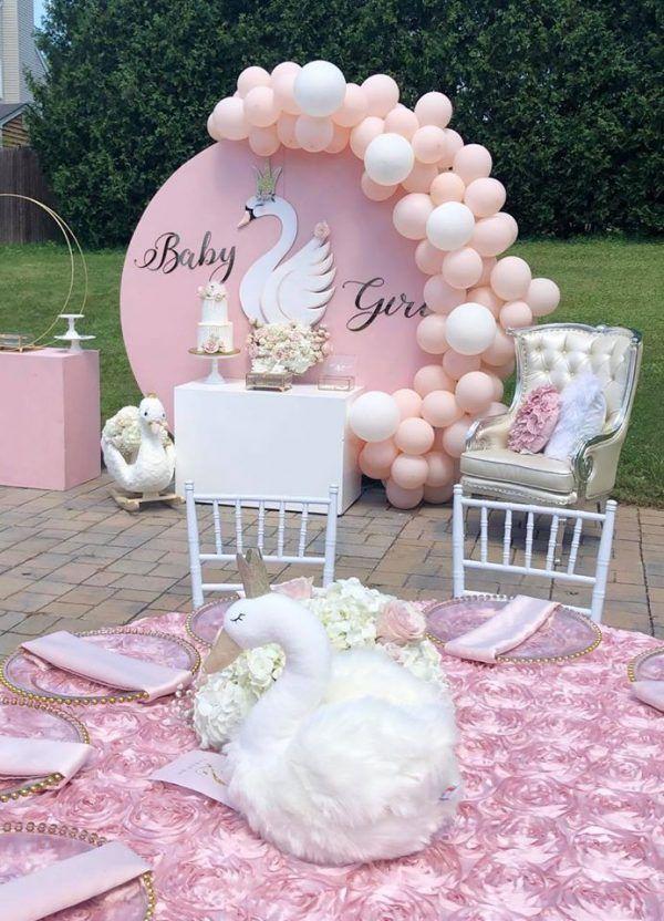 Pink Princess Swan Baby Shower Ideas Swan Baby Shower Baby Shower Decorations Baby Girl Shower Themes
