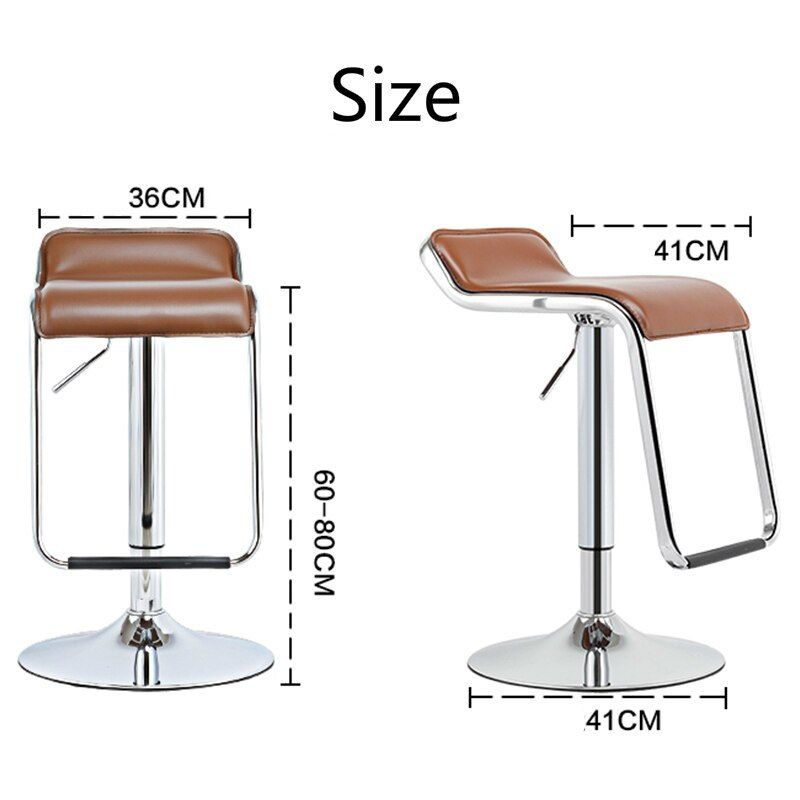 Bar Chair With Footrest Lifted Metal Multi Function Front Desk High Stool Household Simple Pu Seat Office Leisure Stool Chair High Stool Foot Rest Bar Chairs