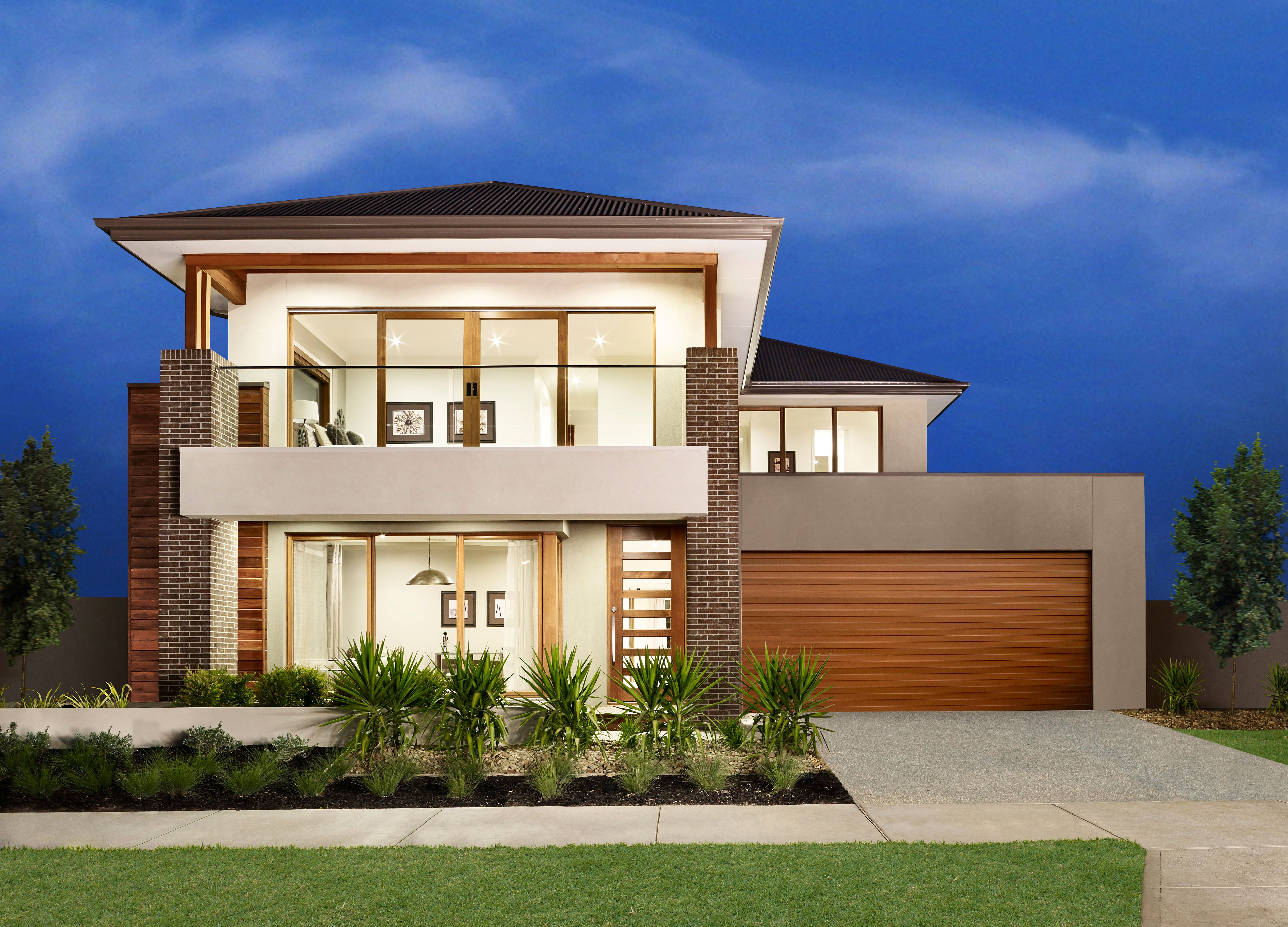An eye catching modern facade with wide balcony leading for Double storey house plans with balcony