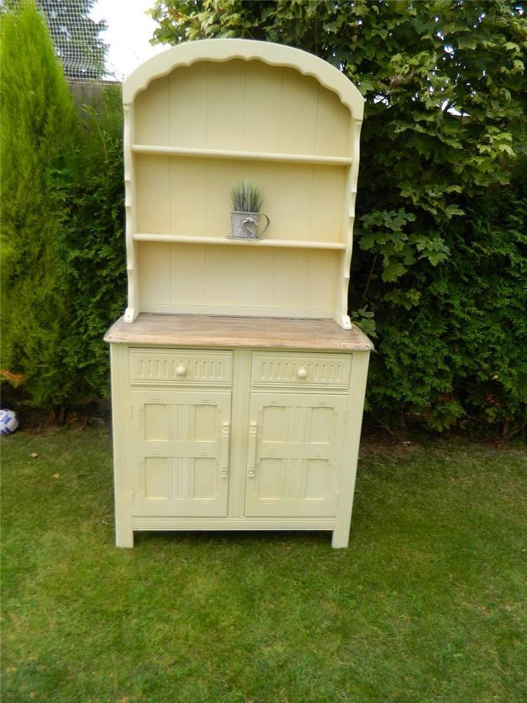 SHABBY PRIORY OAK DUTCH WELSH DRESSER STORAGE DISPLAY CABINET PAINTED