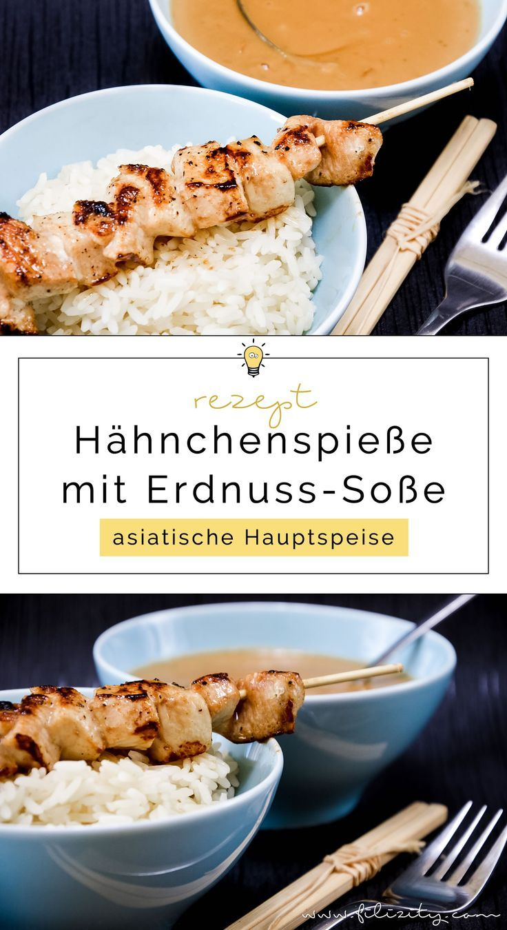 Photo of Chicken skewers (sate) with peanut sauce-Hähnchen-Spieße (Sa…