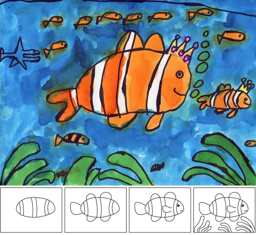 Art projects for kids how to paint a clown fish drawing for Fish for toddlers