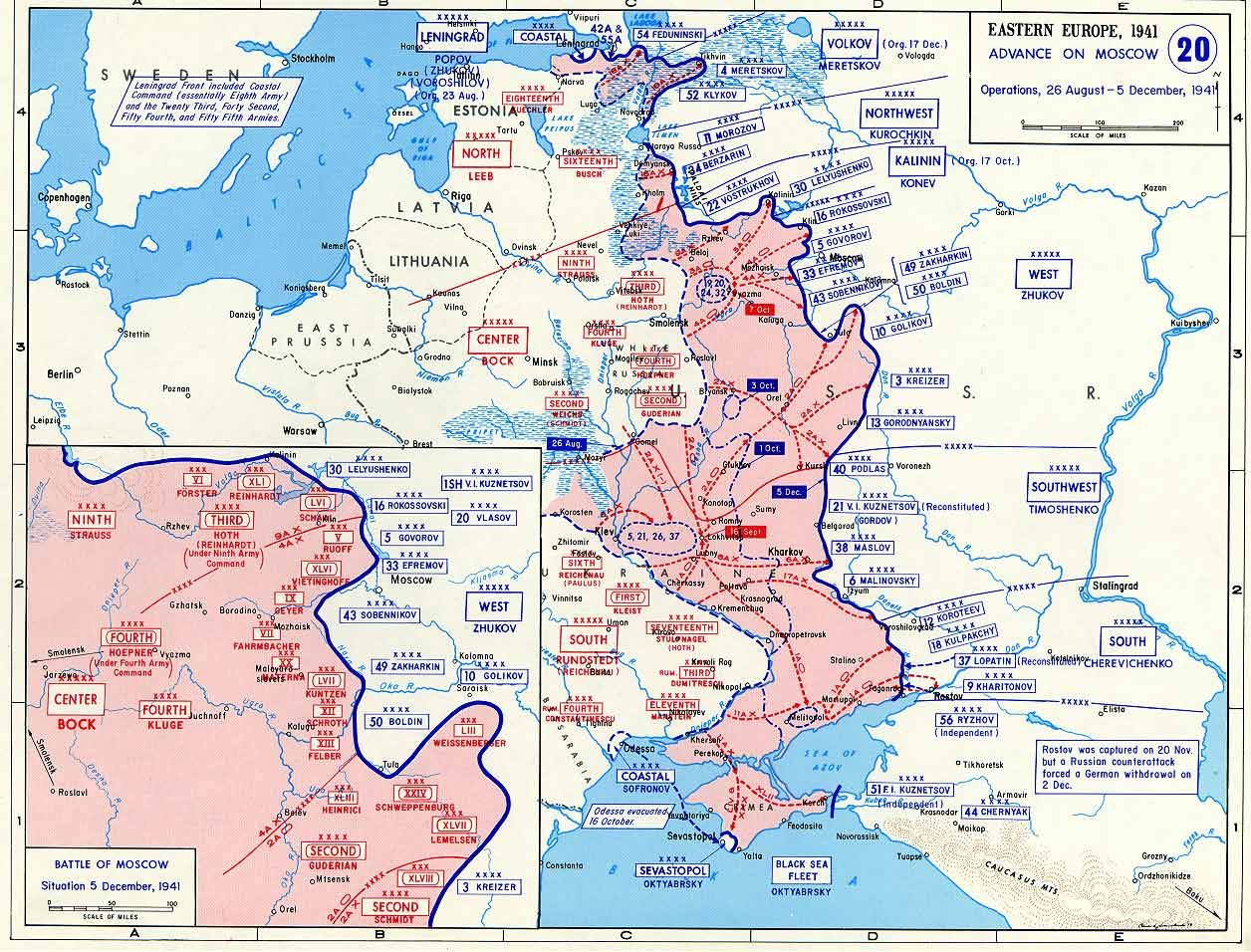 Map Map Depicting The German Advance On Moscow Russia Aug - Moscow russia on world map