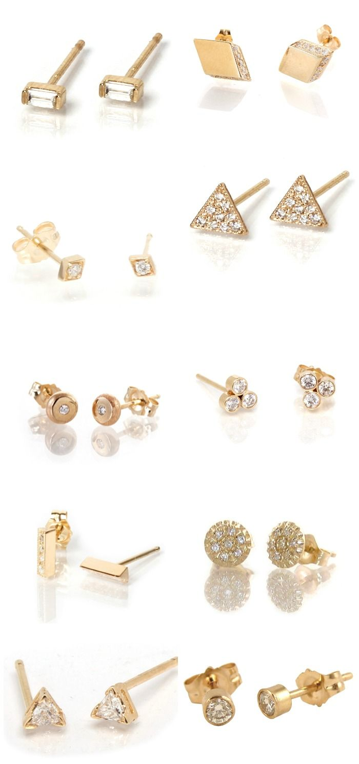 cb4bb641dda74 Diamond studs: 37 ways.   Earrings.   Diamond studs, Stud earrings ...