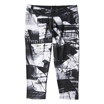 Womens Tights - Sportswear - Rebel Sport - adidas Womens Ultimate All Over Print 3/4 Tight