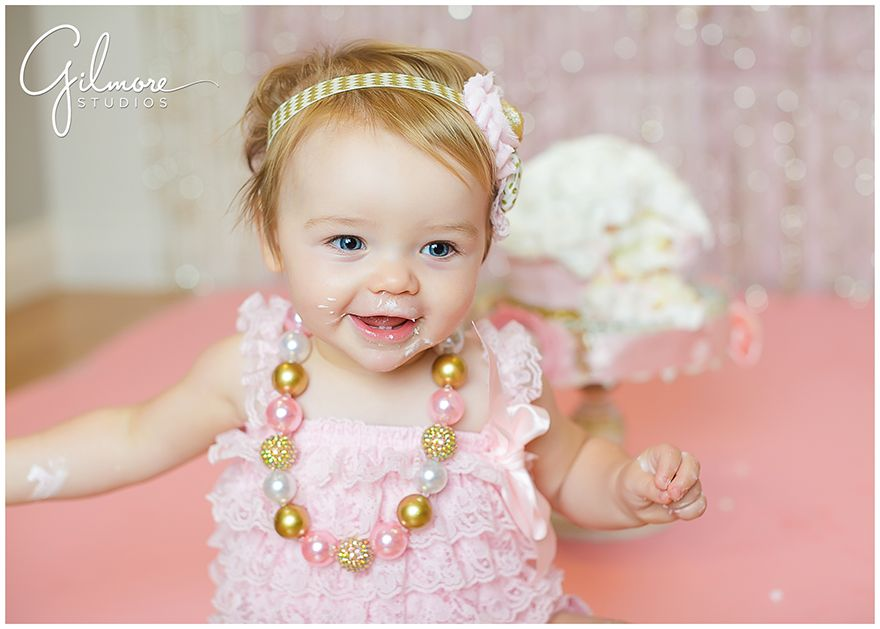 Pink And Girly One Year Old Cake Smash Newport Beach