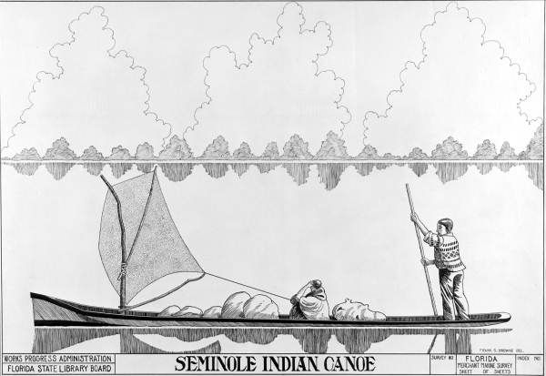 Drawing Of A Seminole Indian Canoe By Frank S Browne