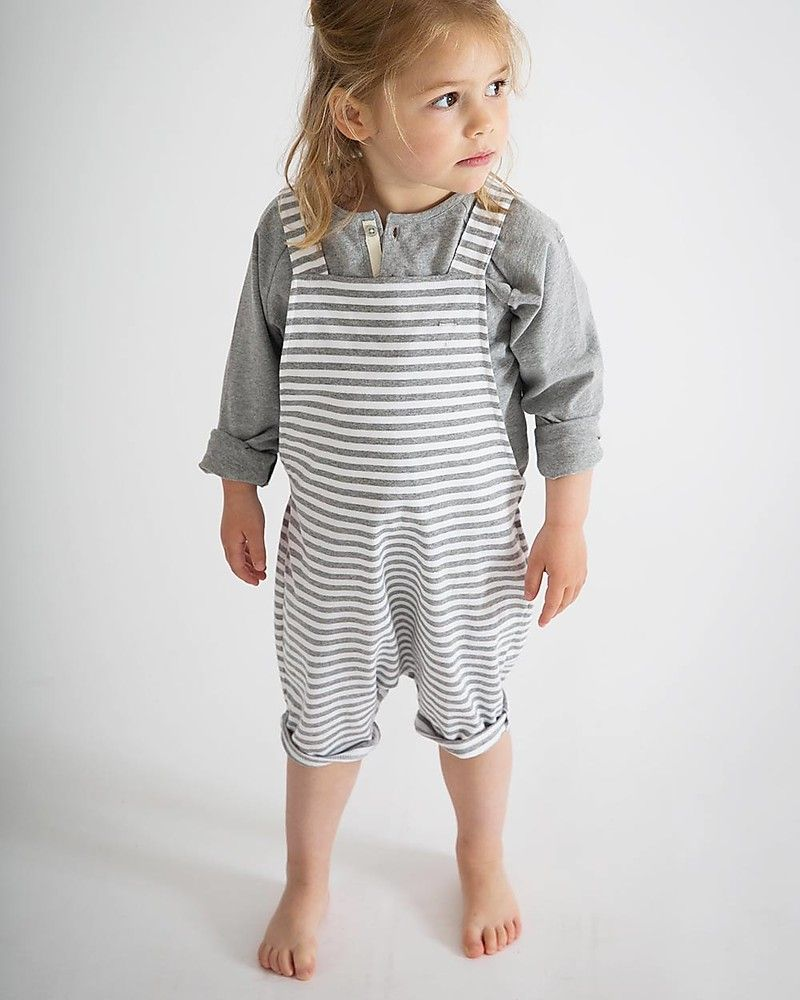 2159670e Gray Label Unisex Shortleg Dungarees, White/Grey Melange Stripes - 100%  Organic Cotton - 2/4 years Dungarees