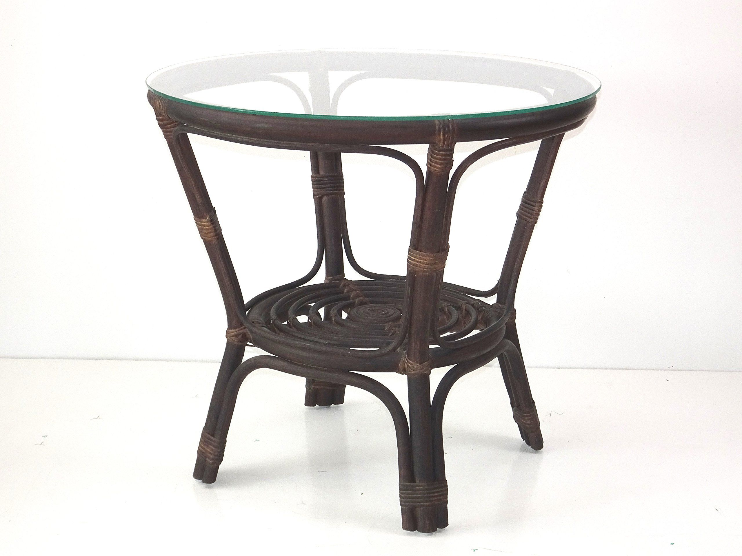 Bahama round coffee table w glass top wicker eco rattan