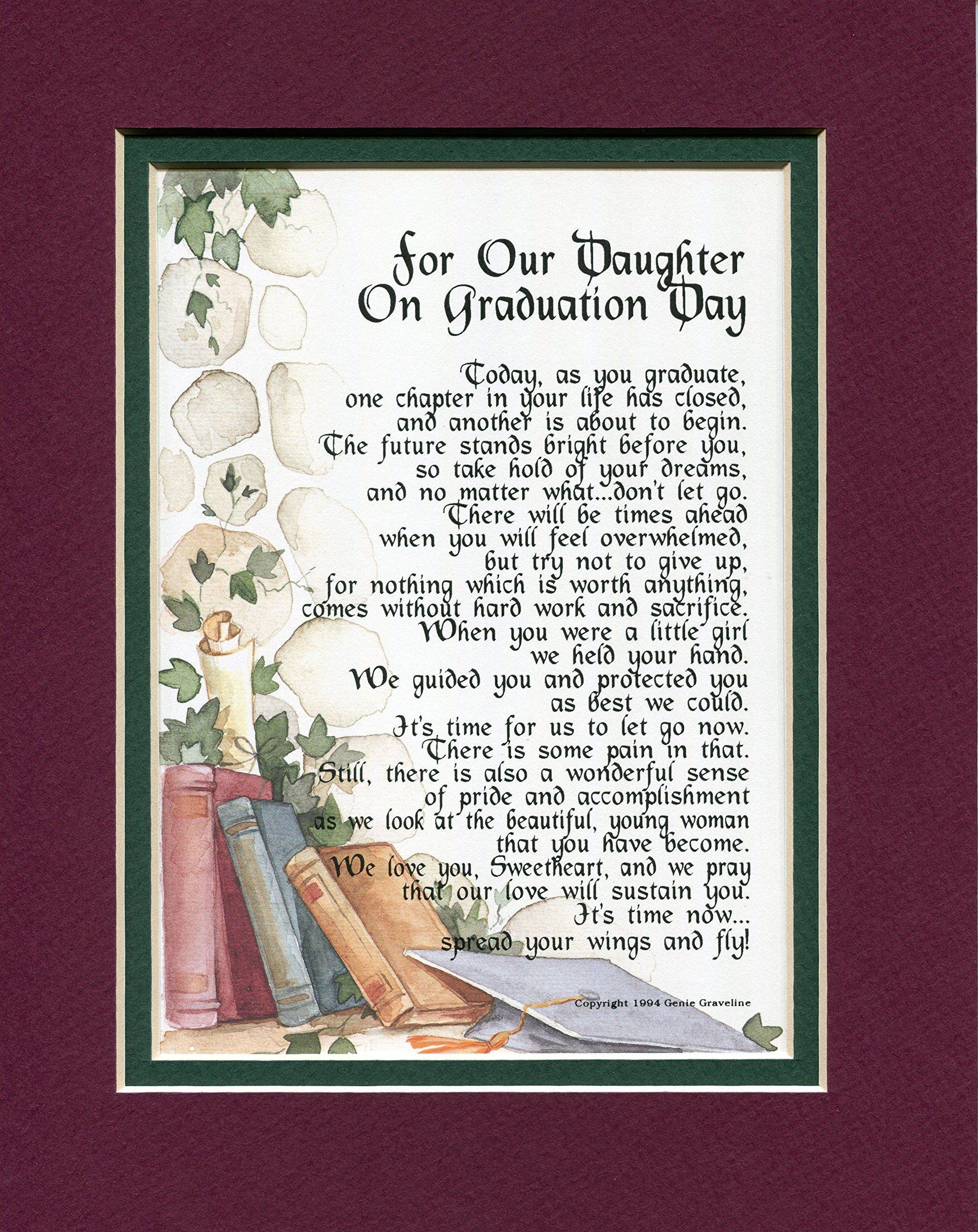 A Graduation Gift For A Daughter. Touching 8x10 Poem, Double-matted ...