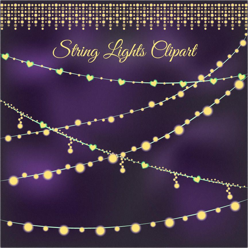 Hearts Clipart String Lights Clip Art Sparkling Firefly Yellow