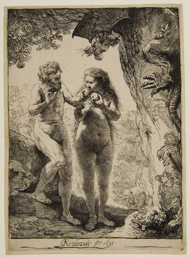 Rembrandt Harmensz van Rijn Dutch (Leiden 1606 - 1669 Amsterdam) Adam and Eve, 1638,  Etching 16.2 x 11.6 cm | Harvard Art Museums