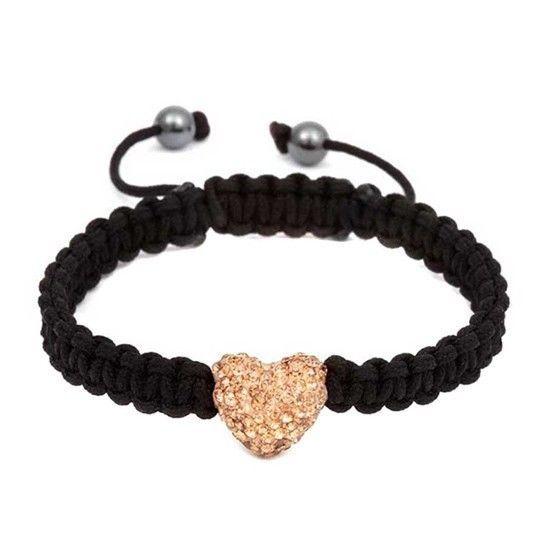 Austrian Crystal–Embellished Single Heart Charm Bracelet - (Multiple Colors) 40% OFF!!