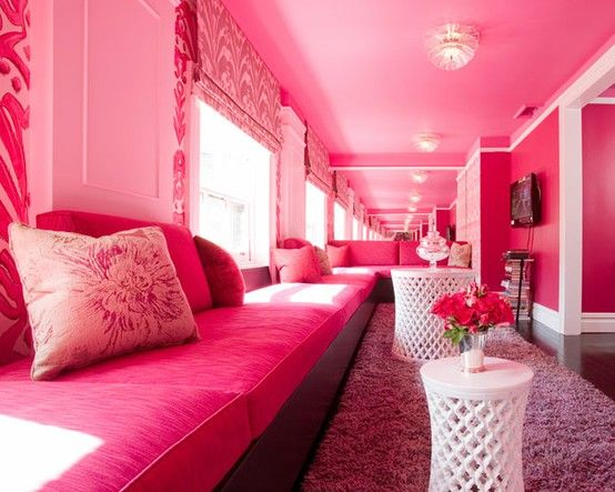 pink room | pink home decor | pink interior decorating | how fun would a girl's party be in this room?