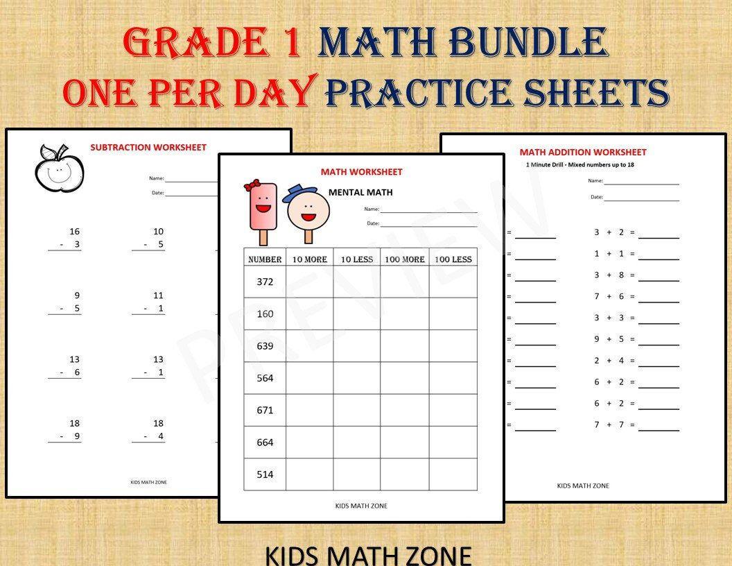 Grade 1 Math Workbook One Per Day 120 Math Worksheets Basic